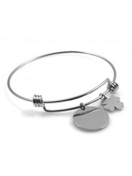 bracciale donna in acciaio rigido con ciondolo tondo e quadrifoglio ottimo per incisione