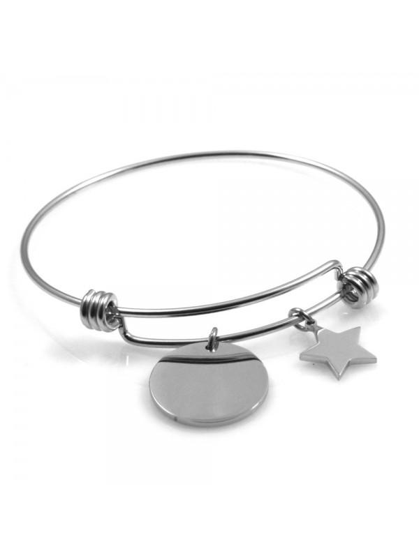 bracciale donna in acciaio rigido con ciondolo tondo e stellina ottimo per incisione