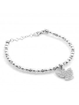 bracciale donna bimba con angelo custode preghiera argento e perle
