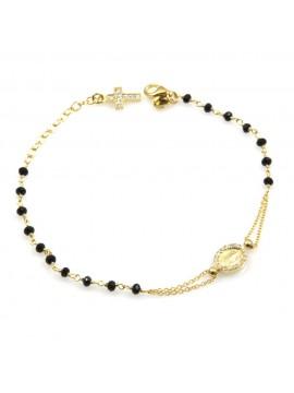 bracciale rosario donna in argento dorato postine nere e strass