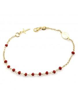 bracciale rosario donna in argento 925 dorato postine rosse