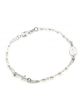 bracciale rosario donna in argento 925 e perle