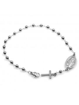 bracciale donna in acciaio rosario