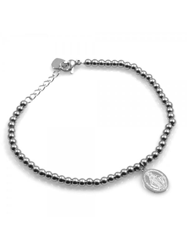 bracciale donna con medaglia miracolosa in acciaio