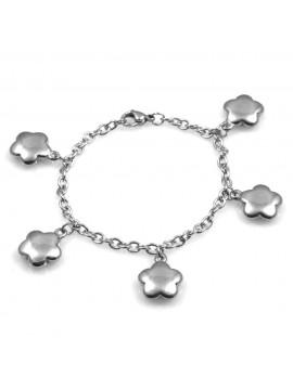 bracciale donna con ciondoli fiorellini pendenti in acciaio