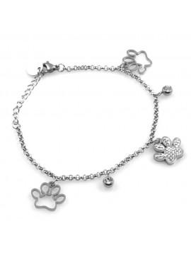 bracciale donna con ciondoli zampette in acciaio amanti animali