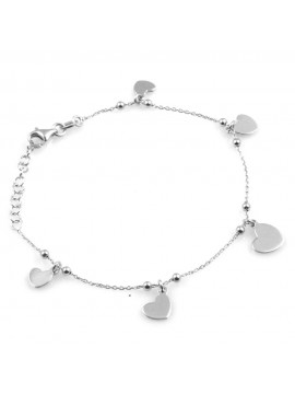 bracciale donna con ciondoli cuori o cuoricini in argento 925