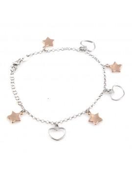 bracciale donna con ciondoli cuori o cuoricini e stelle o stelline in argento 925