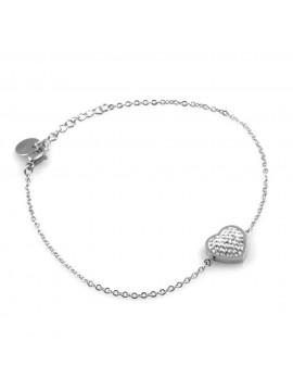 bracciale donna con cuore cuoricino in acciaio e strass