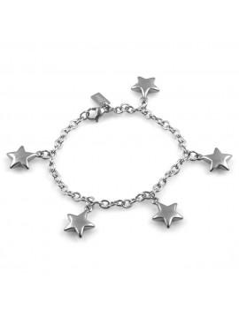 bracciale donna con ciondoli stella o stelline in acciaio