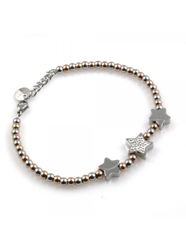 bracciale donna con ciondoli stelle o stelline in acciaio e strass