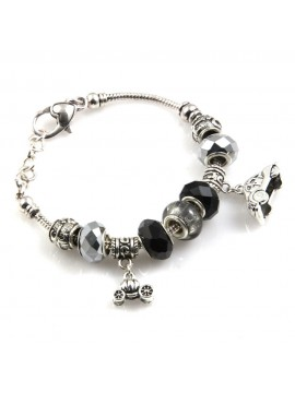 bracciale donna con beads colorati e charms in accaio