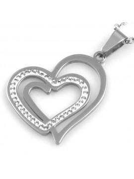 collana donna cuore ciondolo in acciaio e strass