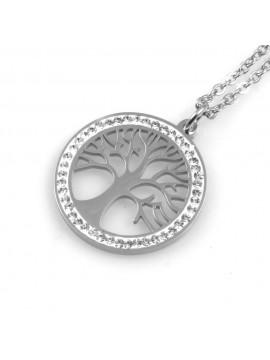 collana donna con albero della vita ciondolo tondo in acciaio e strass
