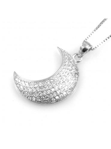 collana donna luna ciondolo in argento 925 e strass
