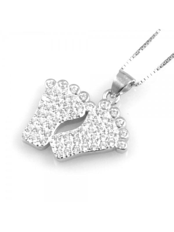 collana donna piedini ciondolo in argento 925 e strass