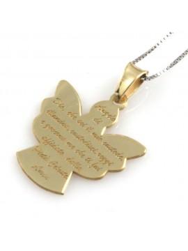 collana donna angelo custode preghiera in argento 925 dorato