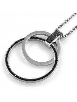 collana donna cerchi ciondolo in acciaio e strass neri