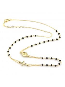 collana rosario uomo donna in acciaio 925 ramato e strass
