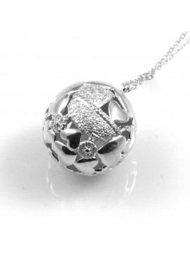 collana donna sfera carrozzina di strass cuori in argento 925 non sonora