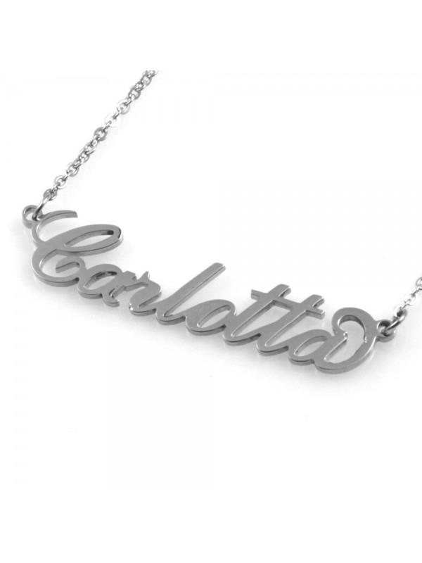 collana con nome Carlotta in acciaio da donna