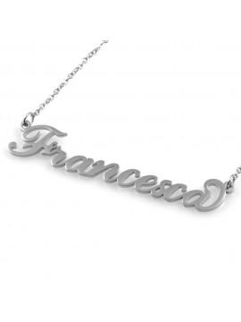 collana con nome Francesca in acciaio da donna