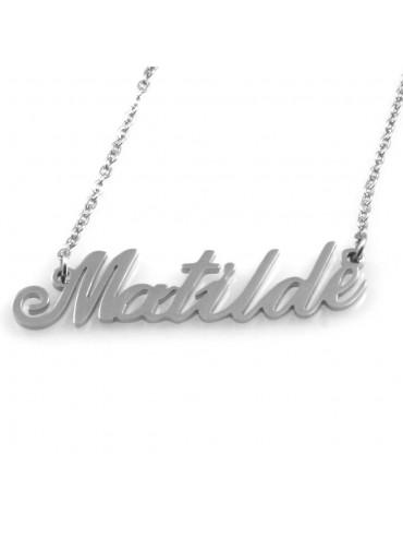 collana con nome Matilde in acciaio da donna