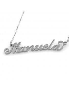 collana con nome Manuela in acciaio da donna