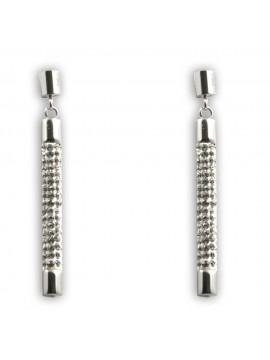 orecchini donna cilindri pendenti in acciaio e strass a vite