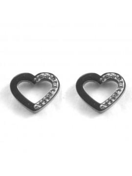 orecchini cuore donna in acciaio e strass a vite