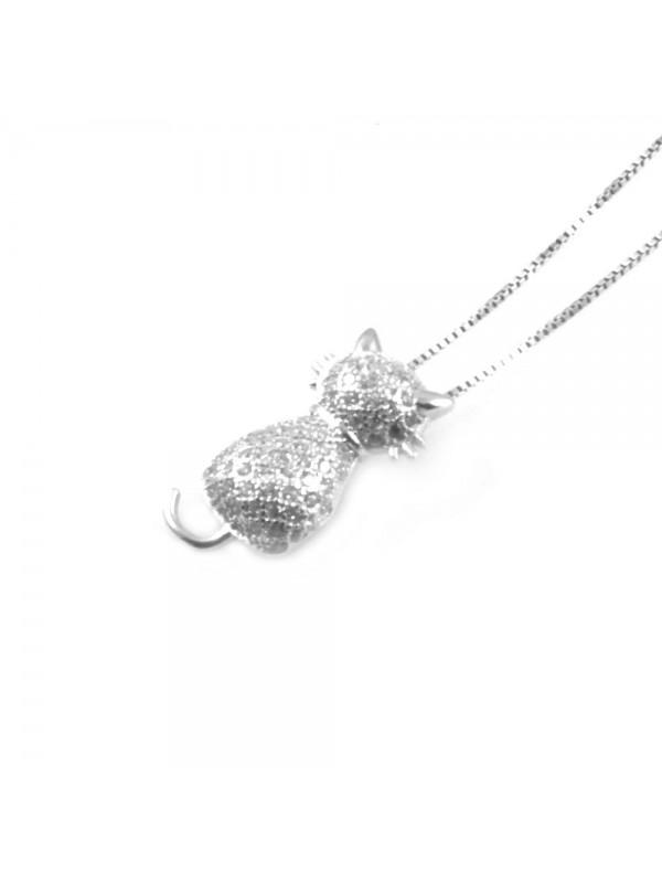 collana con gattino ciondolo pendente in argento 925 - cll1806