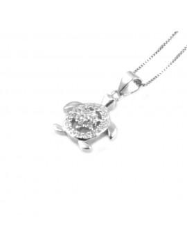 collana donna con tartaruga o tartarughina ciondolo gioiello in argento 925 zirconi - cll1807