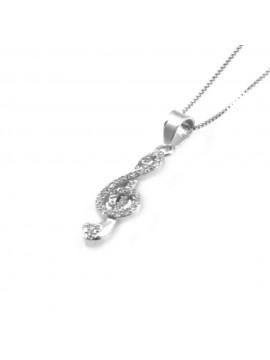 collana con chiave di sol violino ciondolo pendente in argento 925 - cll1810