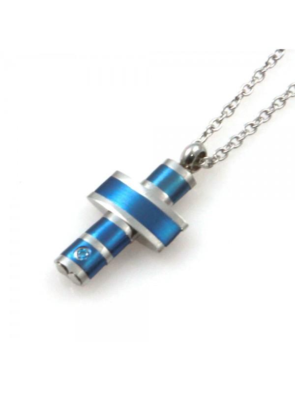 collana uomo croce in acciaio e azzurro e strass