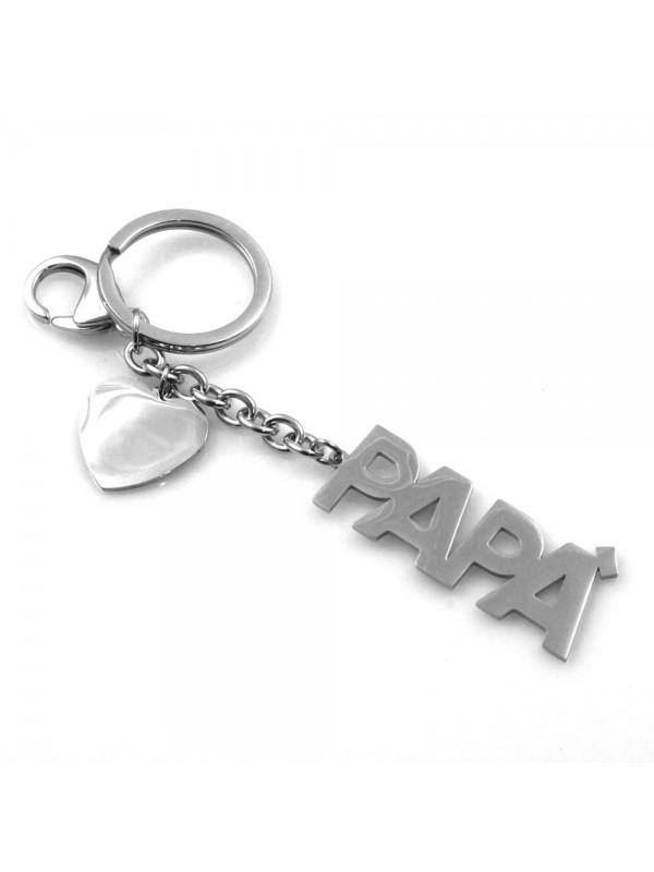portachiavi uomo scritta papà in acciaio personalizzabile con incisione