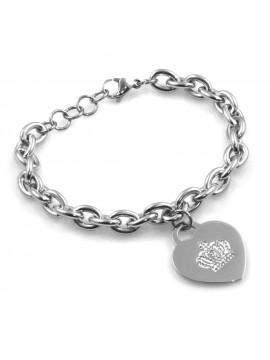 bracciale donna con cuore e corona in acciaio e strass bcc2520