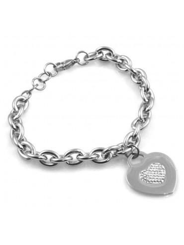 bracciale donna con cuore e cuoricino in acciaio e strass bcc2522