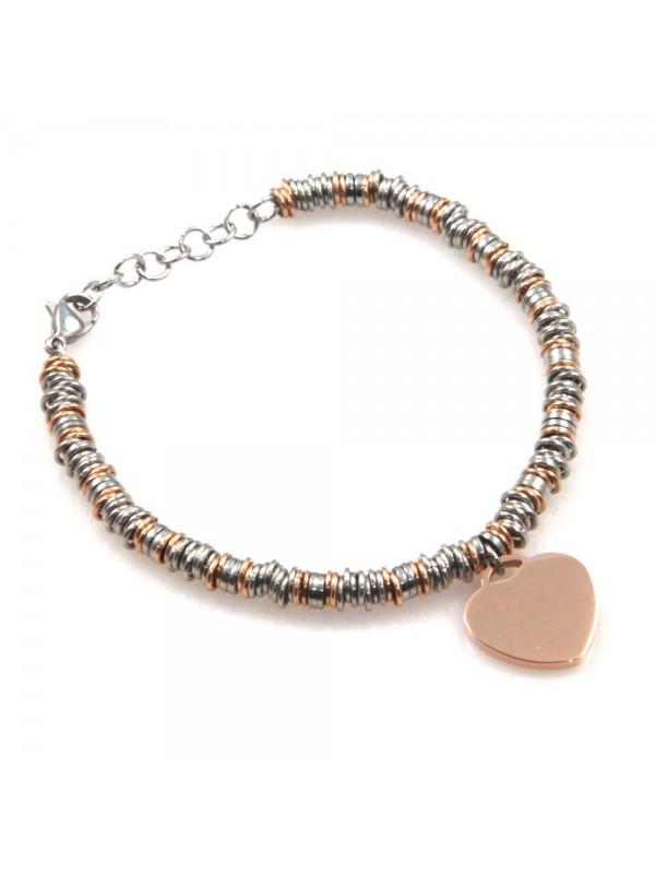 bracciale donna con cuore in acciaio bicolore bcc2528