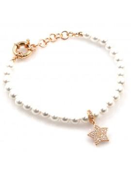 bracciale donna con stellina in bronzo perle e strass bcc2537