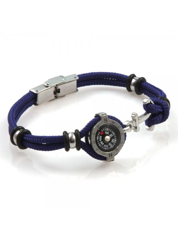 bracciale uomo con bussola e ancora in acciaio e corconcino blu bcc2543