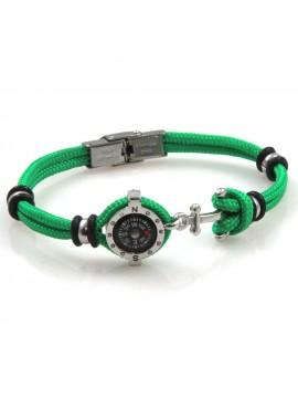 bracciale uomo con bussola e ancora in acciaio e corconcino verde bcc2547
