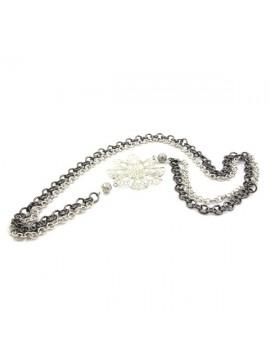 Collana donna in alluminio bicolore lunga