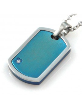 collana uomo ciondolo piastra per incisioni in acciaio bicolore azzurro cll1835