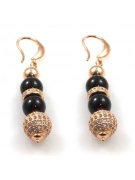 orecchini donna pendenti in bronzo dorato onice e sfera di strass occ0342