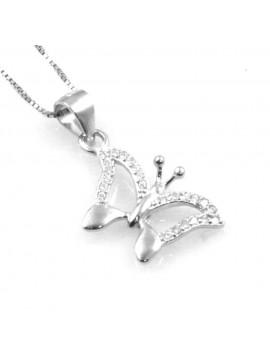 collana con ciondolo pendente farfalla in argento e strass - cll1135