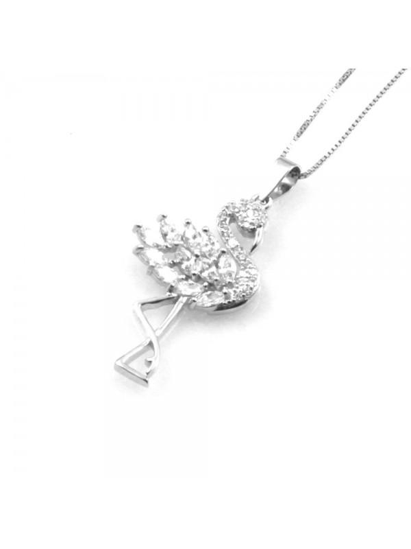 collana con fenicottero donna in argento 925 catena da cm 42 cll1849