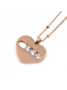 Collana cuore ciondolo donna in acciaio con strass cll0522