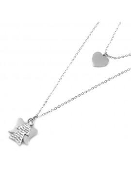 Collana angelo angioletto cuore ciondolo donna in acciaio e strass cll0526