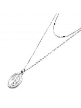Collana medaglia miracolosa ciondolo donna in acciaio cll0528