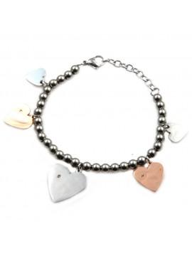 Bracciale donna cuore cuoricini in acciaio inossidabile - bcc0027